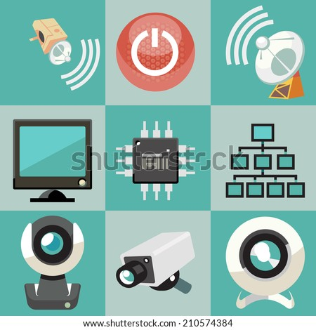 Security System Icons Set. Vector illustration. - stock vector
