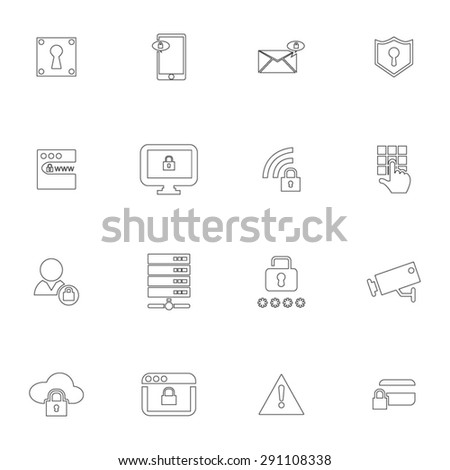Security Thin Line Icon Set  - stock vector