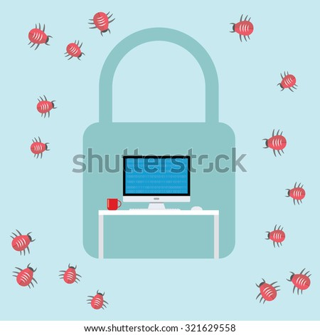 security virus malware attack  bugs computer workspace vector - stock vector