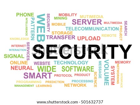 Security word cloud. Information Technology Concept Word Cloud.