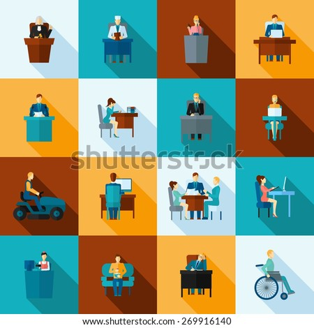 Sedentary lifestyle low mobility work and living icon flat set isolated vector illustration - stock vector