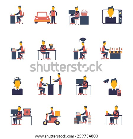 Sedentary living inactive passive man sitting icon flat set isolated vector illustration - stock vector