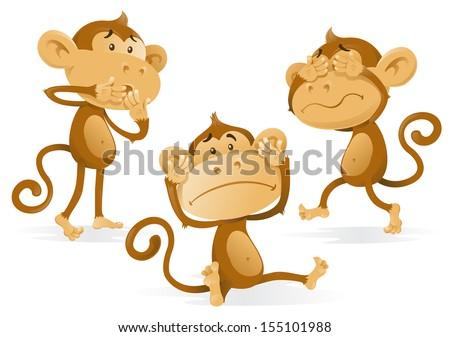 See Hear Speak No Evil Monkeys.   - stock vector
