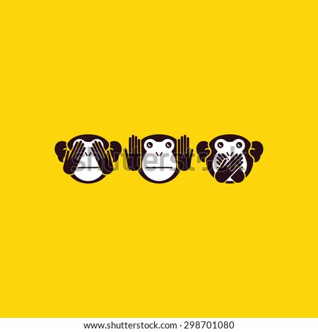 See no Evil, Hear no Evil, Speak no Evil. Three monkeys. Vector illustration - stock vector