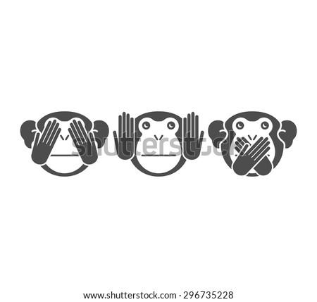 See no Evil, Hear no Evil, Speak no Evil. Vector illustration - stock vector
