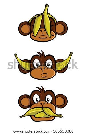 See no evil, Hear no evil, Speak no evil, with bananas. - stock vector