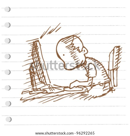 see the computer screen doodle illustration - stock vector