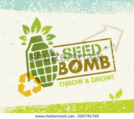 Seed Bomb Eco Green Vector Concept. Organic Creative Vector Composition on Recycled Paper Background