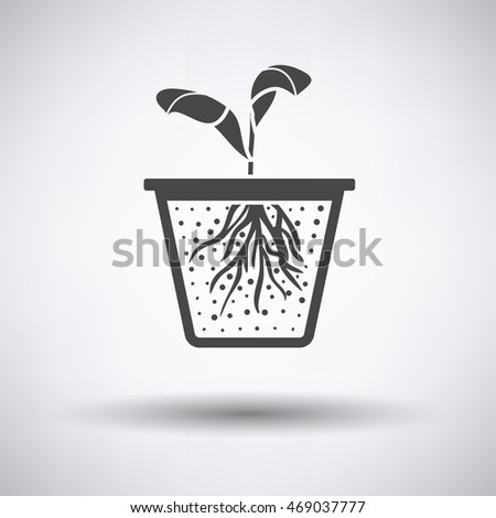 Seedling icon on gray background with round shadow. Vector illustration.