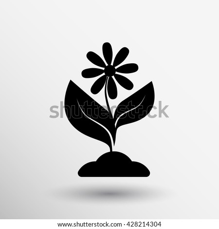 Seedling icon vector flower plant natural agriculture. - stock vector