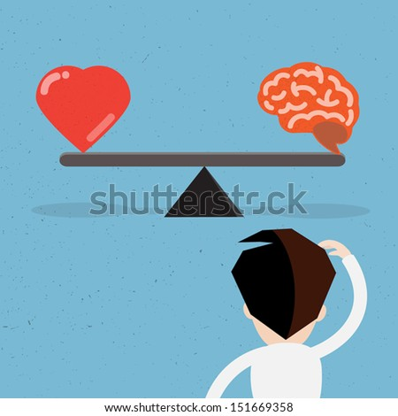 Seesaw with heart and brain,Vector - stock vector