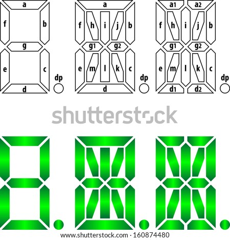 Segmental labeling for 7-, 14-, and 16-segment displays - stock vector