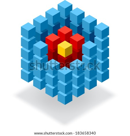 Segmented blue cube infographic element with red hot core - stock vector