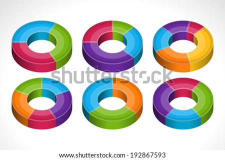 Segmented colorful pie charts set vector illustration
