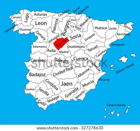 Segovia map, Spain province vector map. High detailed vector map of Spain with separated regions isolated on background. Spain autonomy areas map. Editable vector map of Spain.