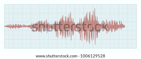 Seismogram - graph of earthquake on paper tape. Vector record of  seismograph. Diagram shows intensity of seismic activity. Wave of different frequency on graph paper. Geological background.