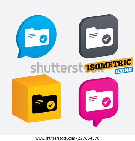 Select document folder sign. Accounting binder symbol. Bookkeeping management. Isometric speech bubbles and cube. Rotated icons with edges. Vector - stock vector