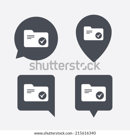 Select document folder sign. Accounting binder symbol. Bookkeeping management. Map pointers information buttons. Speech bubbles with icons. Vector - stock vector