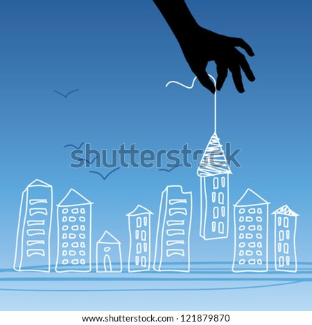 select house in city - stock vector