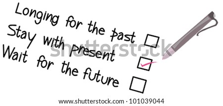 Select your principle (writing). A list of principles for you to choose to manage your life. Select by a ballpoint pen. - stock vector