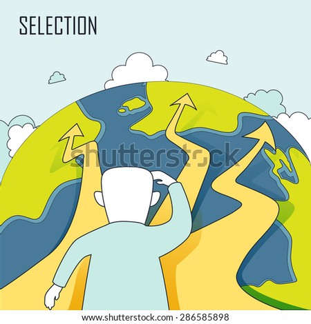 selection concept: a man standing in front of bifurcation intersection in line style - stock vector