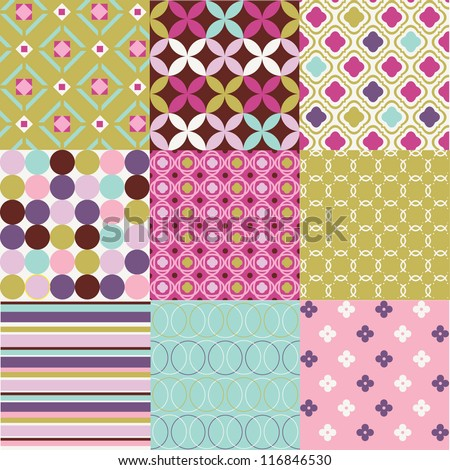 Selection of cheerful geometric designs - stock vector