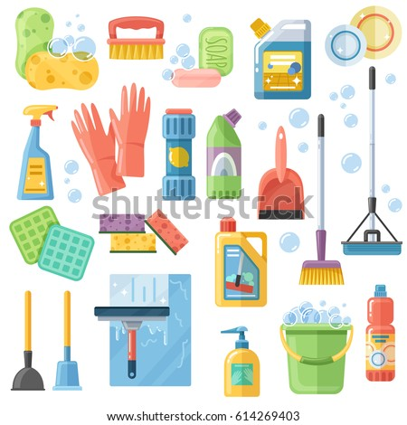 Selection of cleaning supplies tools accessories flat icons set with rubber gloves sponge brushes detergents vector illustration
