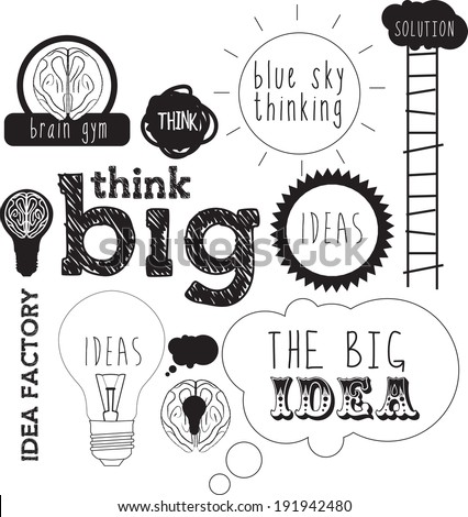 selection of handdrawn elements and typefaces with messages about ideas and blue sky thinking in a sketch style - stock vector