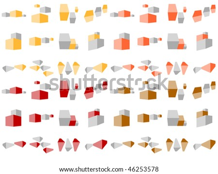 Selection of Simple Building and Construction Icons in Earth Colors - stock vector