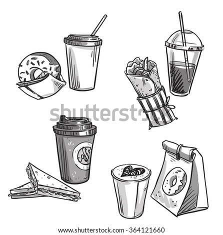 selection of takeaway snacks. takeaway packaging. Fast food. - stock vector