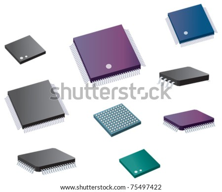 Selection of various computer chips - stock vector