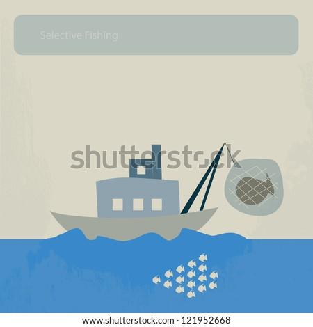 selective fishing - stock vector