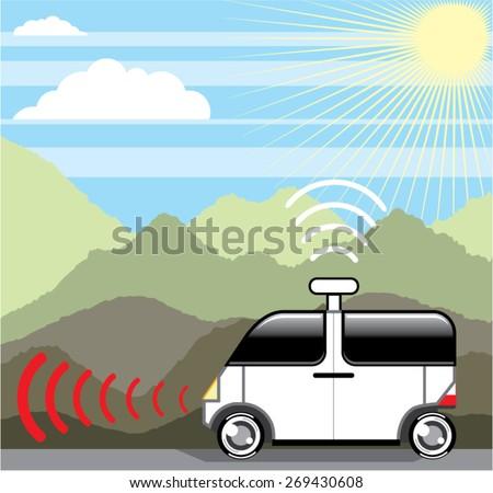 Self-driving car. Driverless car. - stock vector