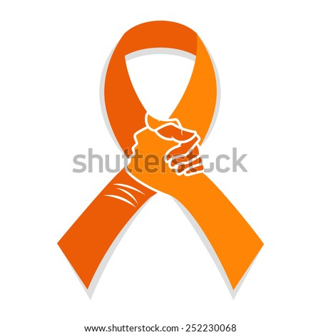 Self injury orange awareness ribbon, hands concept, people solidarity, vector illustration - stock vector