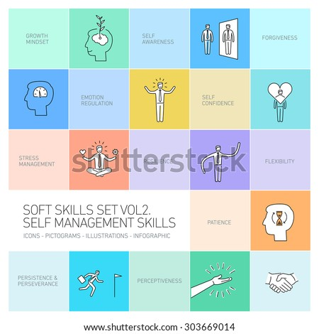 Self management soft skills vector linear icons and pictograms set black on colorful background