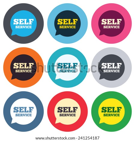 Self service sign icon. Maintenance symbol in speech bubble. Colored round buttons. Flat design circle icons set. Vector