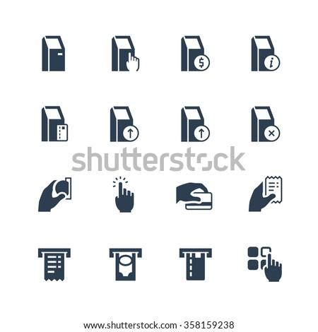 Self-service terminals vector icon set - stock vector