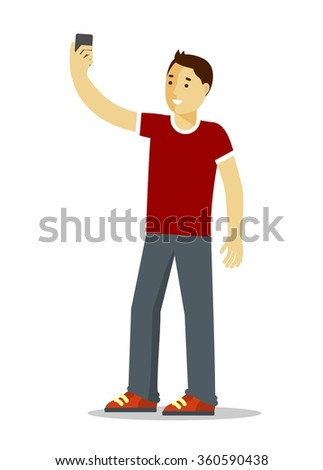 Selfie concept with young man standing and make a self portrait with mobile phone camera in flat style  - stock vector