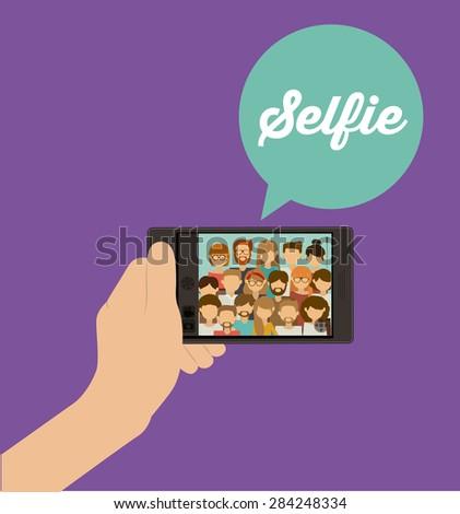 Selfie design over purple background, vector illustration - stock vector