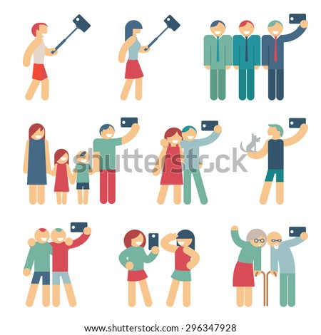 Selfie figures of people. People and friend, person and girlfriends, couple and child. Vector illustration - stock vector