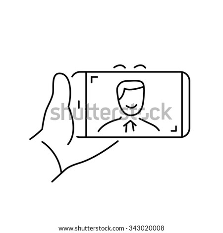 selfie gesture on smartphone or camera with one hand vector linear icon and infographic | illustration of gear and equipment for professional photographers and amateurs black on white background - stock vector