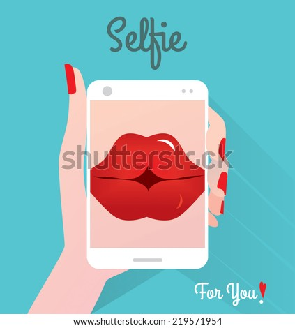 Selfie. Love. - stock vector