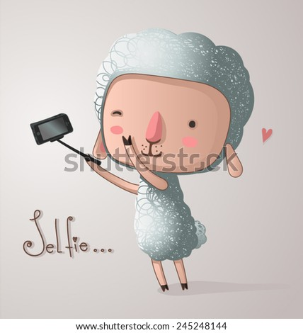 selfie on mobile camera - stock vector