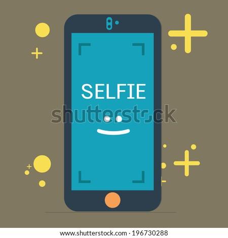 selfie on mobile camera,vector,illustration. - stock vector