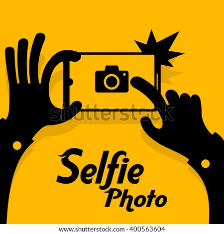 Selfie phonein yellow. Vector illustration