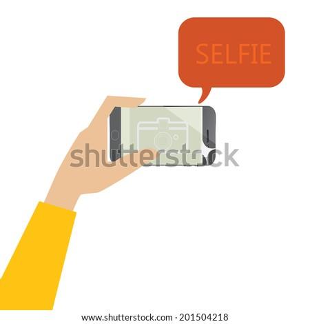 Selfie Photo with smart phone - stock vector