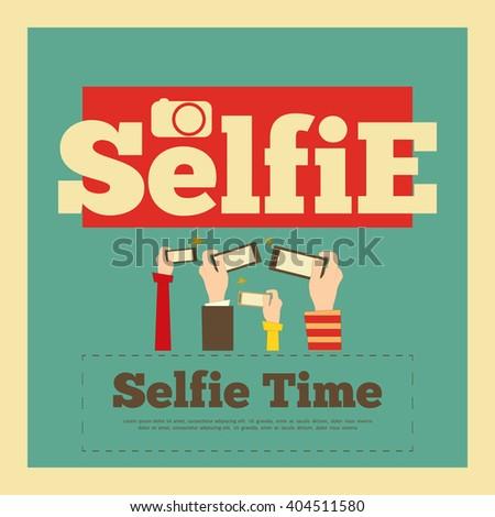 Selfie Poster. Flat Design. Selfie Time Concept. Vector Illustration. - stock vector
