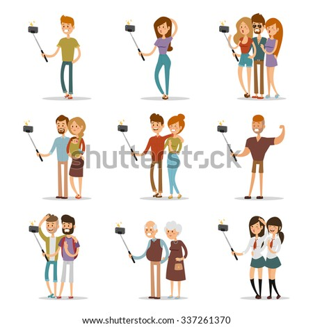 Selfie shots family and couples vector illustration. Selfie shot man, woman, teenagers, pensioners, gays. Vector selfie people set. Selfie vector concept modern life with selfie photo camera. Selfie - stock vector