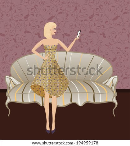 Selfie. Smiling girl making a photography of herself with mobile phone. Photography tendencies and trends for your design. Beautiful young woman posing in vintage dress with triangle pattern.  - stock vector