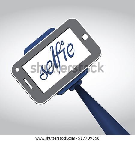 Selfie stick. Portrait photograph with digital camera or smart phone, vector